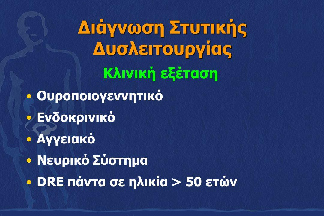 Διάγνωση Στυτικής Δυσλειτουργίας Κλινική εξέταση Ουροποιογεννητικό Ενδοκρινικό Αγγειακό Νευρικό Σύστημα DRE πάντα σε ηλικία > 50 ετών