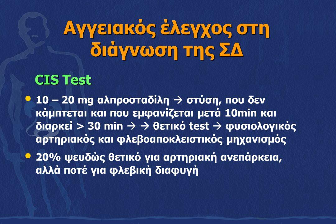 Αγγειακός έλεγχος στη διάγνωση της ΣΔ CIS Test CIS Test 10 – 20 mg αλπροσταδίλη  στύση, που δεν κάμπτεται και που εμφανίζεται μετά 10min και διαρκεί