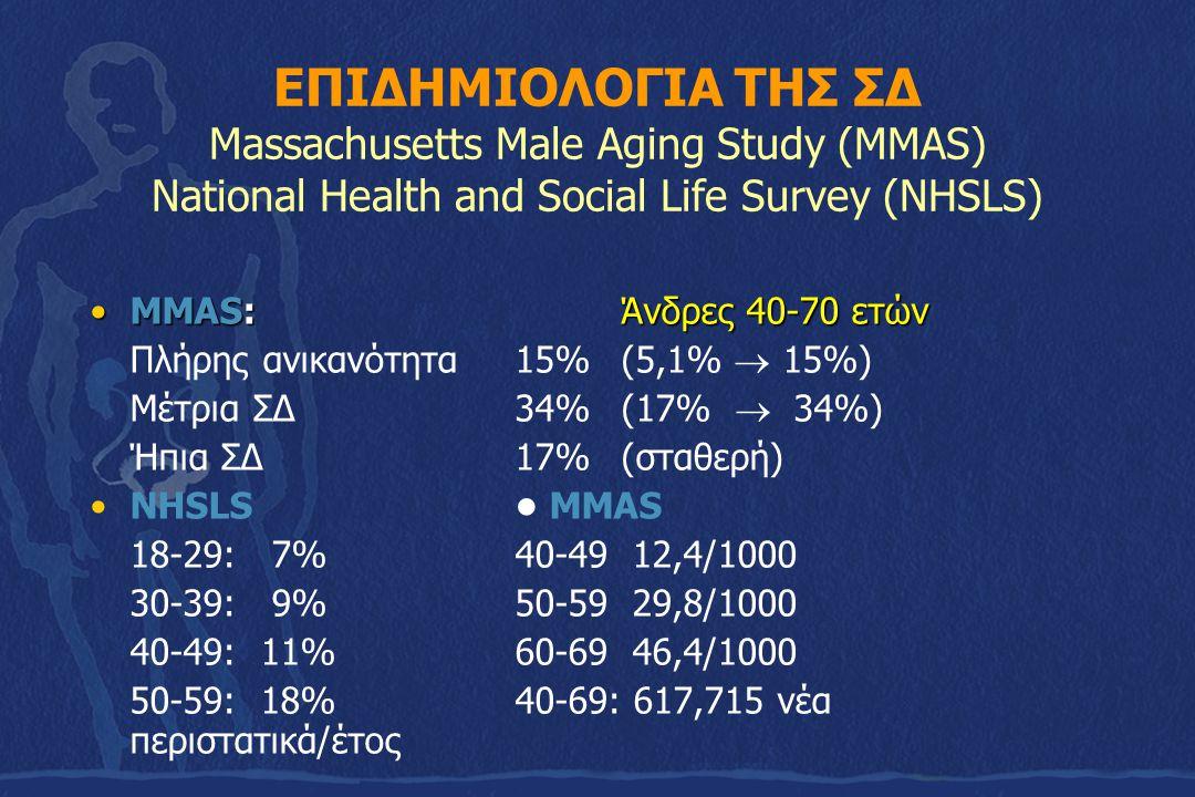 ΕΠΙΔΗΜΙΟΛΟΓΙΑ ΤΗΣ ΣΔ Massachusetts Male Aging Study (MMAS) National Health and Social Life Survey (NHSLS) MMAS: Άνδρες 40-70 ετώνMMAS: Άνδρες 40-70 ετ