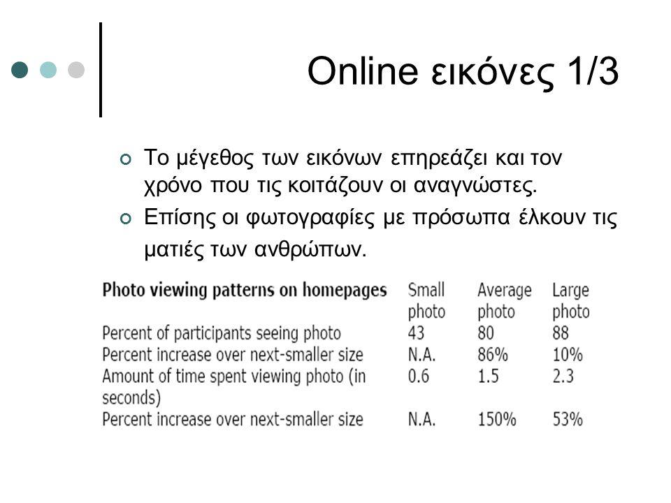 Online εικόνες 1/3 Το μέγεθος των εικόνων επηρεάζει και τον χρόνο που τις κοιτάζουν οι αναγνώστες. Επίσης οι φωτογραφίες με πρόσωπα έλκουν τις ματιές