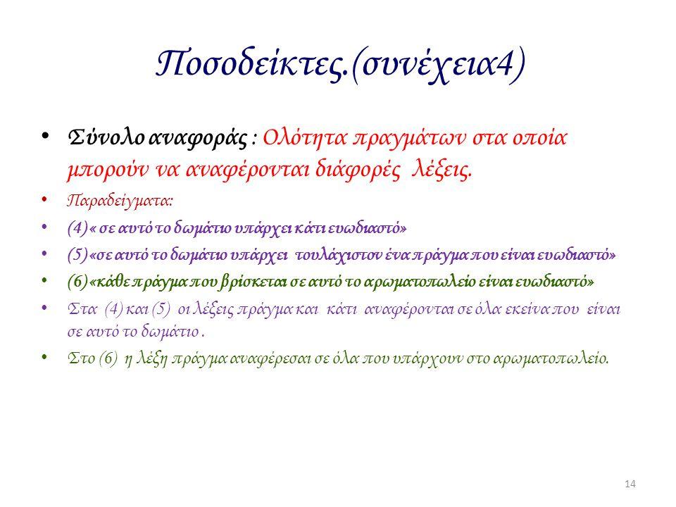 Ποσοδείκτες.(συνέχεια4) Σύνολο αναφοράς : Ολότητα πραγμάτων στα οποία μπορούν να αναφέρονται διάφορές λέξεις. Παραδείγματα: (4) « σε αυτό το δωμάτιο υ