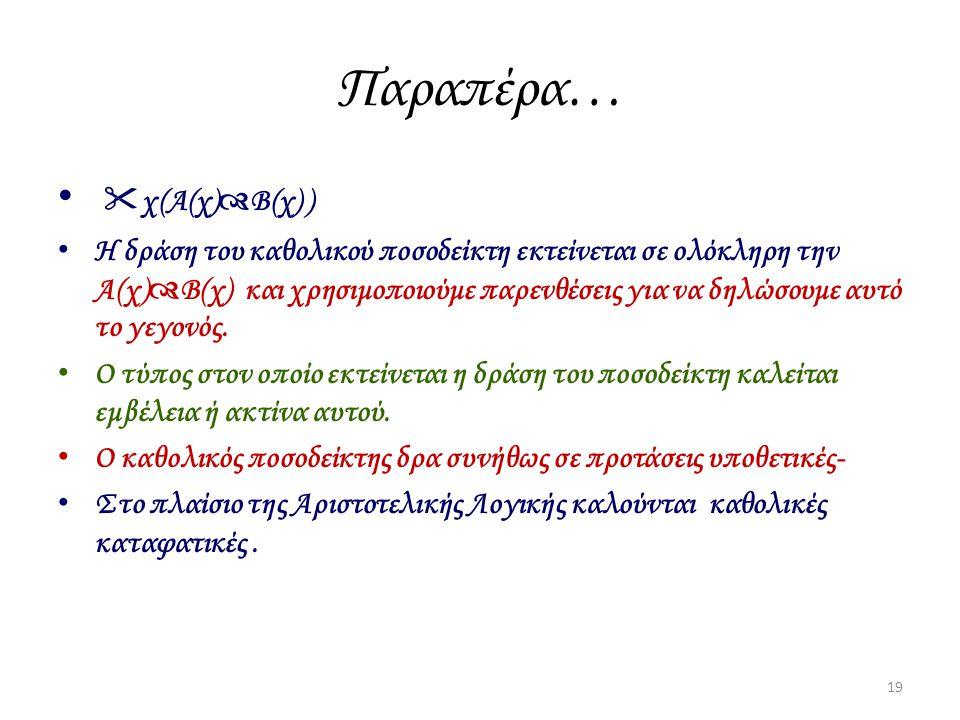 Παραπέρα…  χ(Α(χ)  Β(χ) ) Η δράση του καθολικού ποσοδείκτη εκτείνεται σε ολόκληρη την Α(χ)  Β(χ) και χρησιμοποιούμε παρενθέσεις για να δηλώσουμε αυ