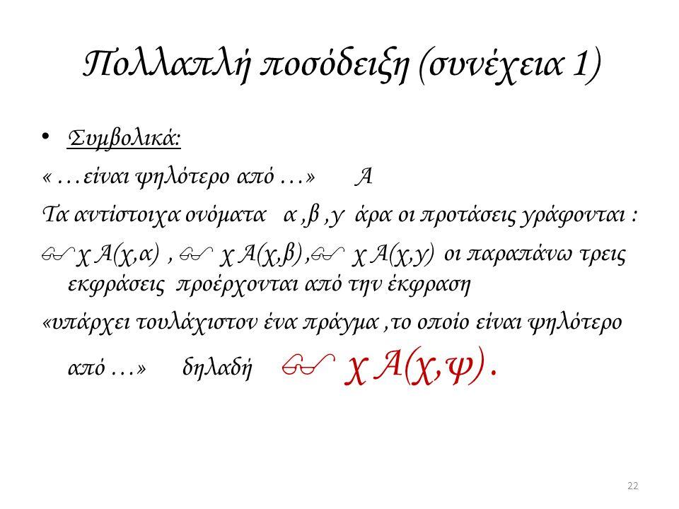Πολλαπλή ποσόδειξη (συνέχεια 1) Συμβολικά: « …είναι ψηλότερο από …» Α Τα αντίστοιχα ονόματα α,β,γ άρα οι προτάσεις γράφονται : $χ Α(χ,α),  χ Α(χ,β),