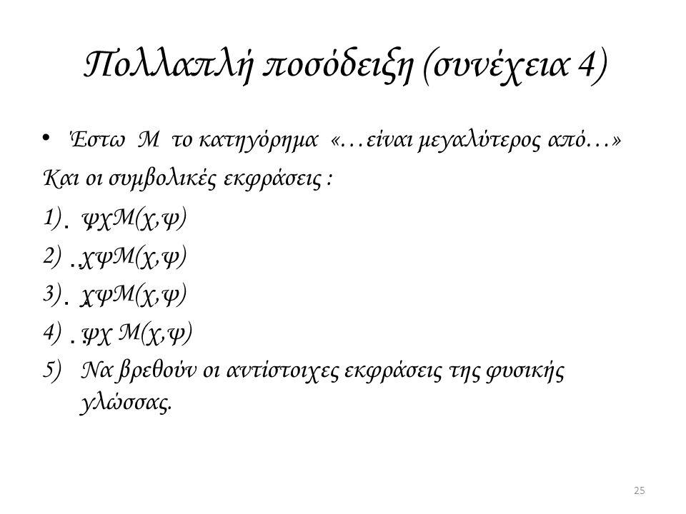 Πολλαπλή ποσόδειξη (συνέχεια 4) Έστω Μ το κατηγόρημα «…είναι μεγαλύτερος από…» Και οι συμβολικές εκφράσεις : 1)  ψ  χΜ(χ,ψ) 2)  χ  ψΜ(χ,ψ) 3)  χ