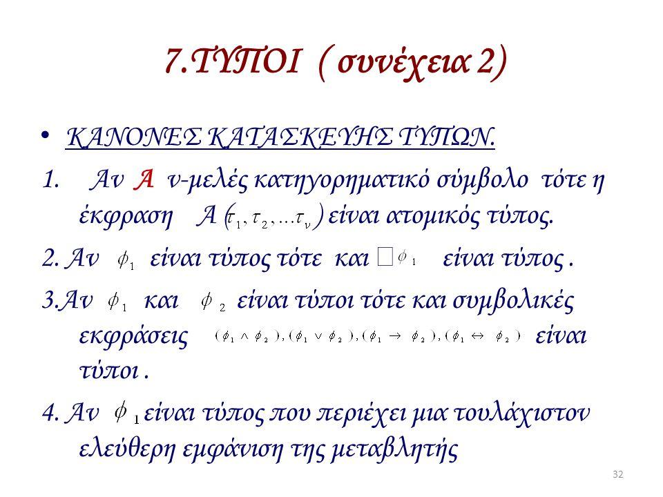 7.ΤΥΠΟΙ ( συνέχεια 2) ΚΑΝΟΝΕΣ ΚΑΤΑΣΚΕΥΗΣ ΤΥΠΩΝ. 1. Αν Α ν-μελές κατηγορηματικό σύμβολο τότε η έκφραση Α ( ) είναι ατομικός τύπος. 2. Αν είναι τύπος τό
