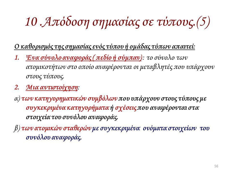 10.Απόδοση σημασίας σε τύπους.(5) Ο καθορισμός της σημασίας ενός τύπου ή ομάδας τύπων απαιτεί: 1.Ένα σύνολο αναφοράς ( πεδίο ή σύμπαν) : το σύνολο των