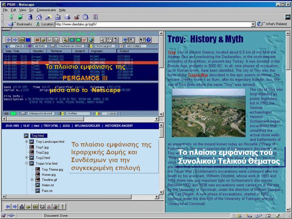 Το πλαίσιο εμφάνισης της PERGAMOS III μέσα από το Netscape Το πλαίσιο εμφάνισης της Ιεραρχικής Δομής και Συνδέσμων για την συγκεκριμένη επιλογή Το πλαίσιο εμφάνισης τού Συνολικού Τελικού Θέματος