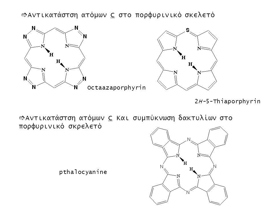  Αντικατάστση ατόμων C στο πορφυρινικό σκελετό Octaazaporphyrin 2H-5-Thiaporphyrin  Αντικατάστση ατόμων C Και συμπύκνωση δακτυλίων στο πορφυρινικό σ