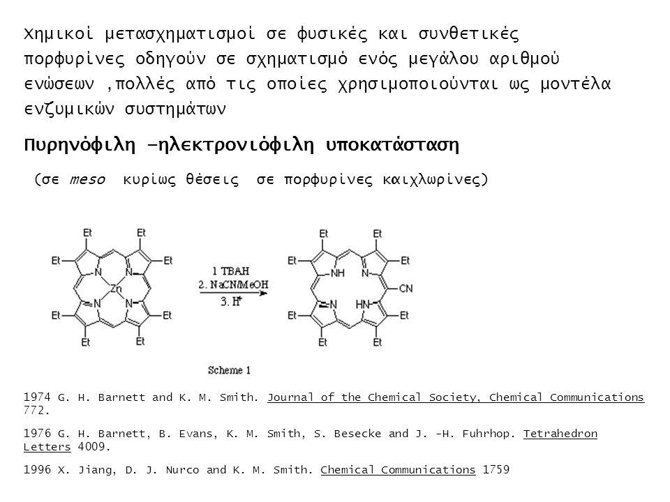 Χημικοί μετασχηματισμοί σε φυσικές και συνθετικές πορφυρίνες οδηγούν σε σχηματισμό ενός μεγάλου αριθμού ενώσεων,πολλές από τις οποίες χρησιμοποιούνται