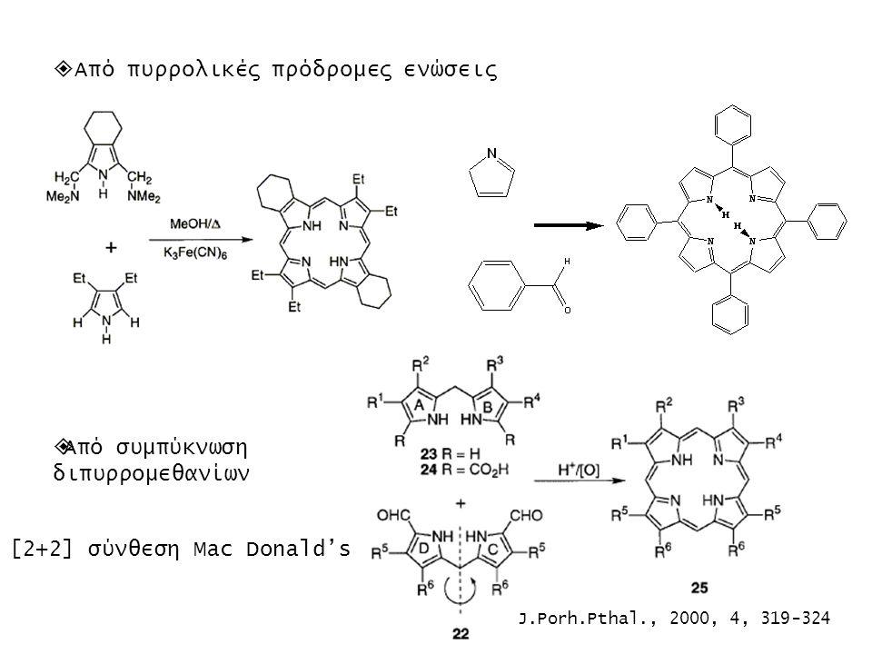  Από πυρρολικές πρόδρομες ενώσεις  Από συμπύκνωση διπυρρομεθανίων [2+2] σύνθεση Mac Donald's J.Porh.Pthal., 2000, 4, 319-324