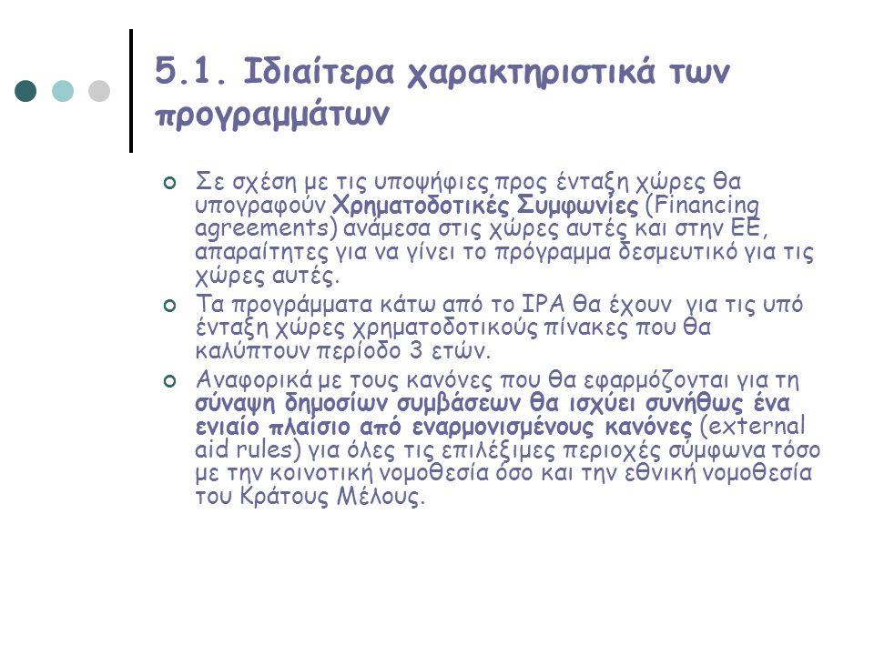 5.1. Ιδιαίτερα χαρακτηριστικά των προγραμμάτων Σε σχέση με τις υποψήφιες προς ένταξη χώρες θα υπογραφούν Χρηματοδοτικές Συμφωνίες (Financing agreement