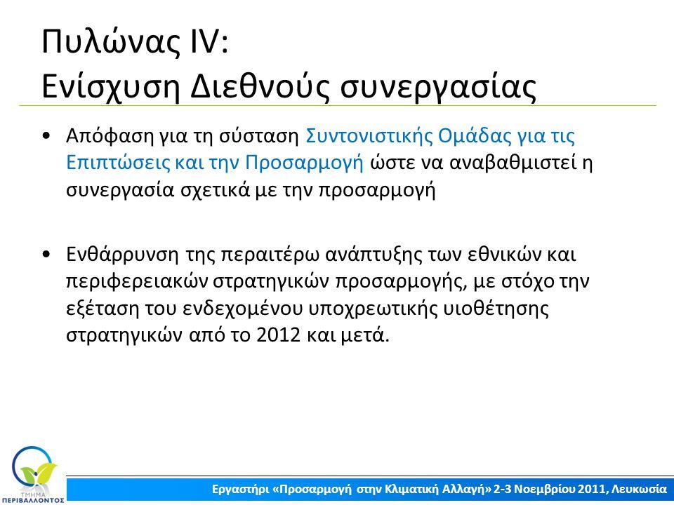 Πυλώνας ΙV: Ενίσχυση Διεθνούς συνεργασίας Απόφαση για τη σύσταση Συντονιστικής Ομάδας για τις Επιπτώσεις και την Προσαρμογή ώστε να αναβαθμιστεί η συν