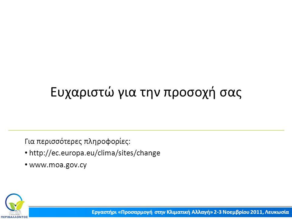 Ευχαριστώ για την προσοχή σας Για περισσότερες πληροφορίες: http://ec.europa.eu/clima/sites/change www.moa.gov.cy Εργαστήρι «Προσαρμογή στην Κλιματική