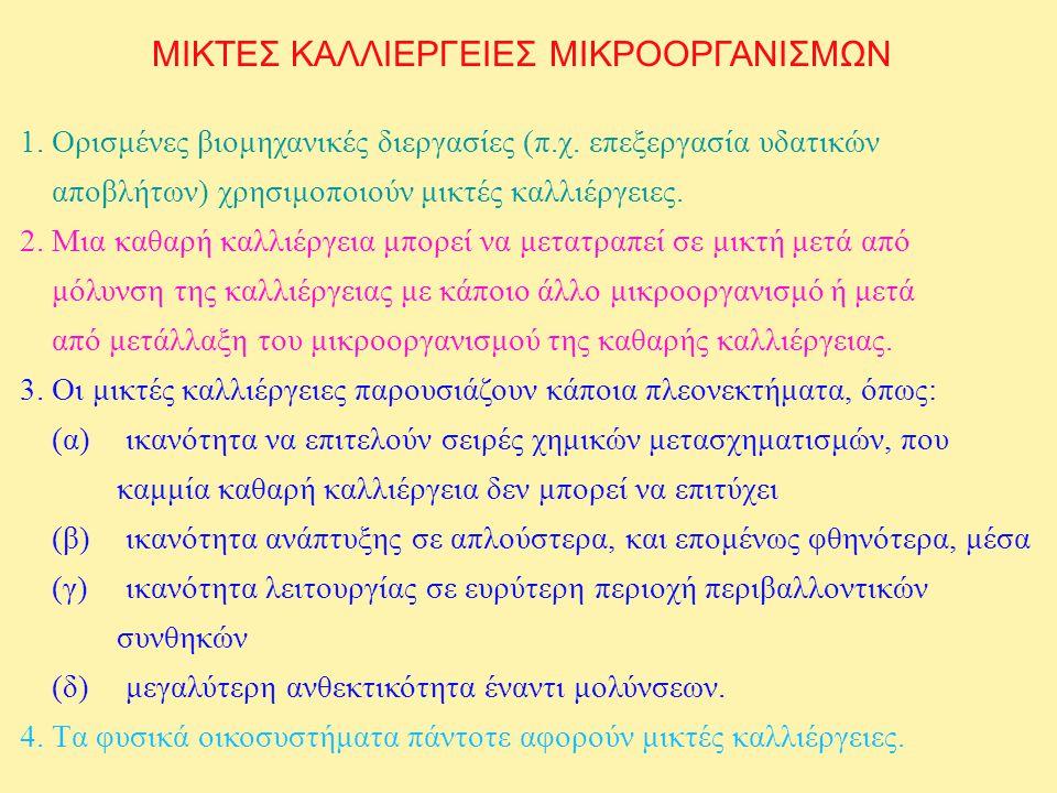 ΤΑΞΙΝΟΜΗΣΗ ΑΛΛΗΛΕΠΙΔΡΑΣΕΩΝ ΜΕΤΑΞΥ ΔΥΟ ΜΙΚΡΟΒΙΑΚΩΝ ΠΛΗΘΥΣΜΩΝ ΘΗΡΕΥΣΗ (PREDATION) +- ΠΑΡΑΣΙΤΙΣΜΟΣ (PARASITISM) +- ΣΥΝΑΓΩΝΙΣΜΟΣ (COMPETITION) -- ΑΝΤΑΓΩΝΙΣΜΟΣ (ANTAGONISM) -- ΚΟΜΜΕΝΣΑΛΙΣΜΟΣ (COMMENSALISM) +o ΑΜΕΝΣΑΛΙΣΜΟΣ (AMENSALISM) -o ΑΜΟΙΒΑΙΟΤΙΣΜΟΣ (MUTUALISM) ++ ΠΡΩΤΟΣΥΝΕΡΓΑΣΙΑ (PROTOCOOPERATION) ++ ΕΜΜΕΣΕΣ ΑΜΕΣΕΣ ΟΝΟΜΑ ΑΛΛΗΛΕΠΙΔΡΑΣΗΣ ΕΠΙΔΡΑΣΗ Α στον Β Β στον Α