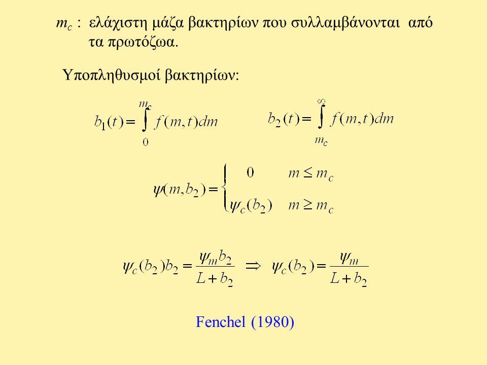 m c : ελάχιστη μάζα βακτηρίων που συλλαμβάνονται από τα πρωτόζωα. Υποπληθυσμοί βακτηρίων: Fenchel (1980)