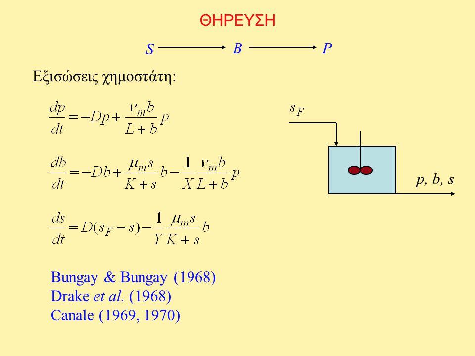 ΘΗΡΕΥΣΗ S BP Εξισώσεις χημοστάτη: p, b, s Bungay & Bungay (1968) Drake et al. (1968) Canale (1969, 1970)