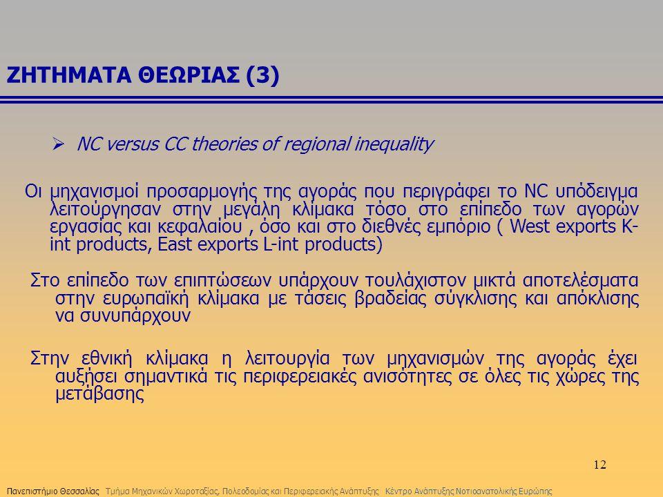 12 ΖΗΤΗΜΑΤΑ ΘΕΩΡΙΑΣ (3) Οι μηχανισμοί προσαρμογής της αγοράς που περιγράφει το NC υπόδειγμα λειτούργησαν στην μεγάλη κλίμακα τόσο στο επίπεδο των αγορ