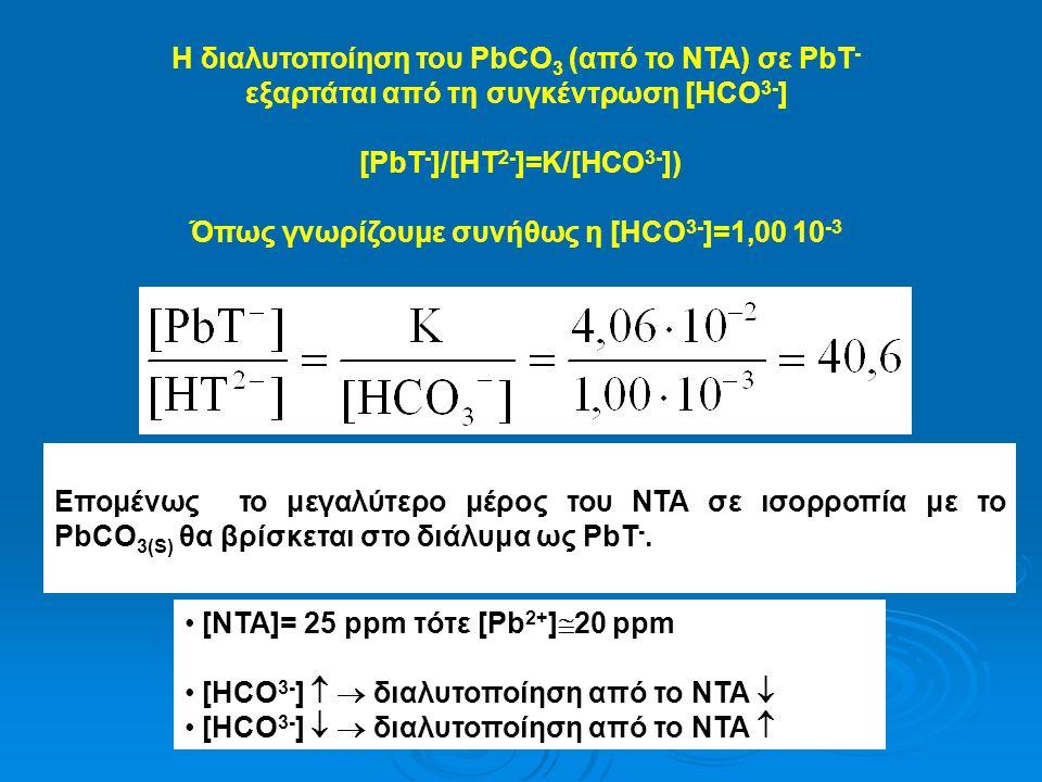Η διαλυτοποίηση του PbCO 3 (από το ΝΤΑ) σε PbT - εξαρτάται από τη συγκέντρωση [HCO 3- ] [PbT - ]/[HT 2- ]=K/[HCO 3- ]) Όπως γνωρίζουμε συνήθως η [HCO