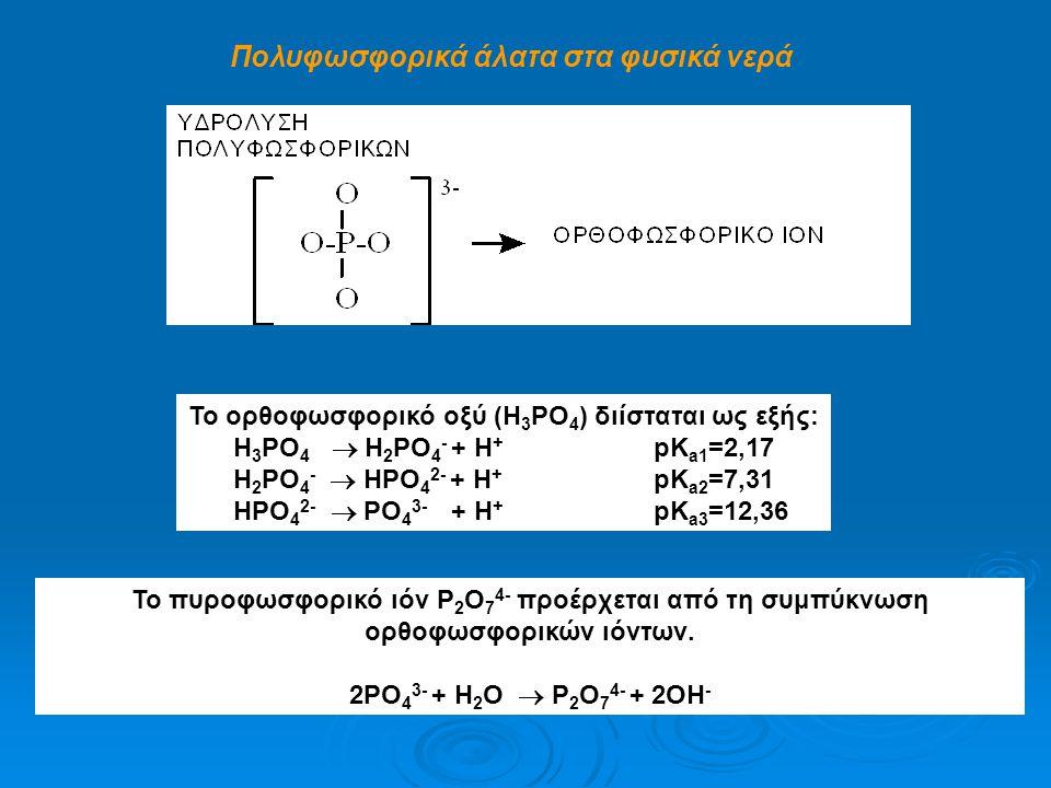 Πολυφωσφορικά άλατα στα φυσικά νερά To ορθοφωσφορικό οξύ (H 3 PO 4 ) διίσταται ως εξής: H 3 PO 4  H 2 PO 4 - + H + pΚ a1 =2,17 H 2 PO 4 -  HPO 4 2-