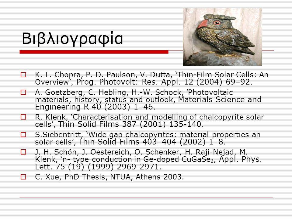 Βιβλιογραφία  K. L. Chopra, P. D. Paulson, V. Dutta, 'Thin-Film Solar Cells: An Overview', Prog. Photovolt: Res. Appl. 12 (2004) 69–92.  A. Goetzber