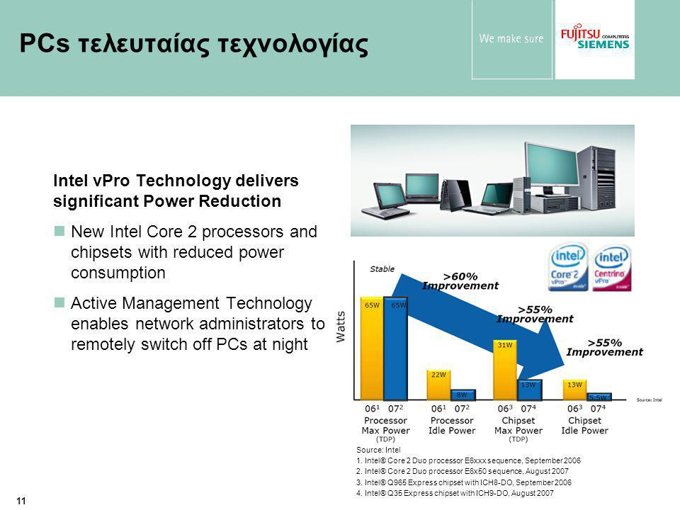 11 PCs τελευταίας τεχνολογίας Intel vPro Technology delivers significant Power Reduction New Intel Core 2 processors and chipsets with reduced power consumption Active Management Technology enables network administrators to remotely switch off PCs at night Source: Intel 1.