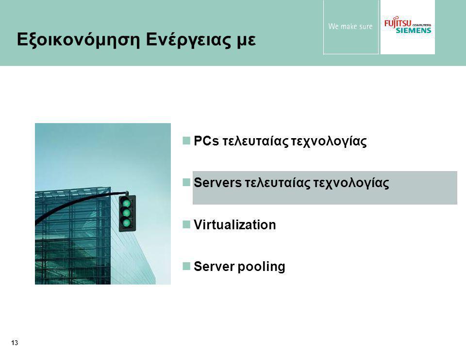 13 PCs τελευταίας τεχνολογίας Servers τελευταίας τεχνολογίας Virtualization Server pooling Εξοικονόμηση Ενέργειας με