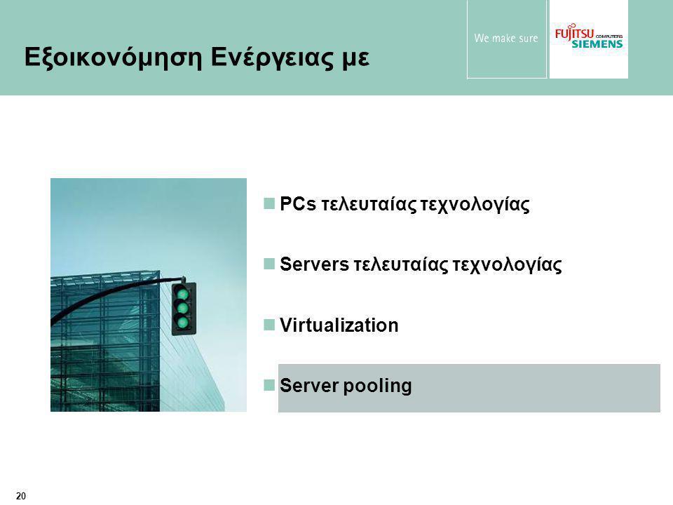 20 PCs τελευταίας τεχνολογίας Servers τελευταίας τεχνολογίας Virtualization Server pooling Εξοικονόμηση Ενέργειας με