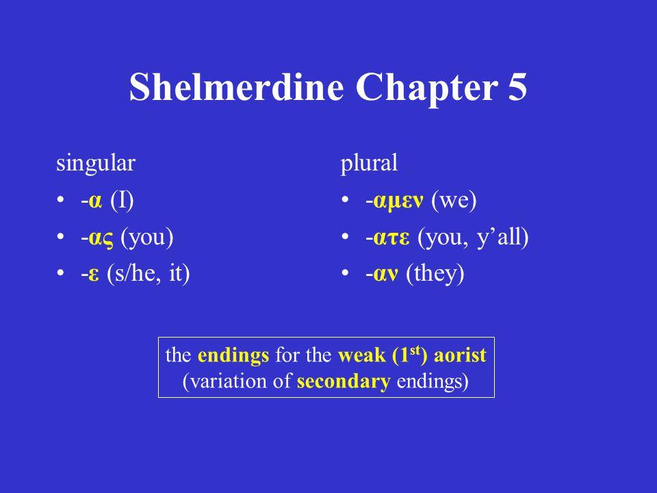 Shelmerdine Chapter 5 singular -α (I) -ας (you) -ε (s/he, it) plural -αμεν (we) -ατε (you, y'all) -αν (they) the endings for the weak (1 st ) aorist (variation of secondary endings)