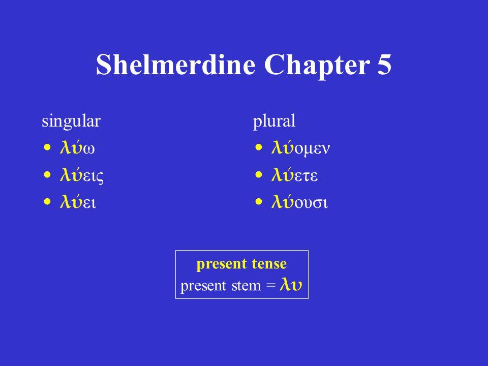 Shelmerdine Chapter 5 singular λύ ω λύ εις λύ ει plural λύ ομεν λύ ετε λύ ουσι present tense present stem = λυ