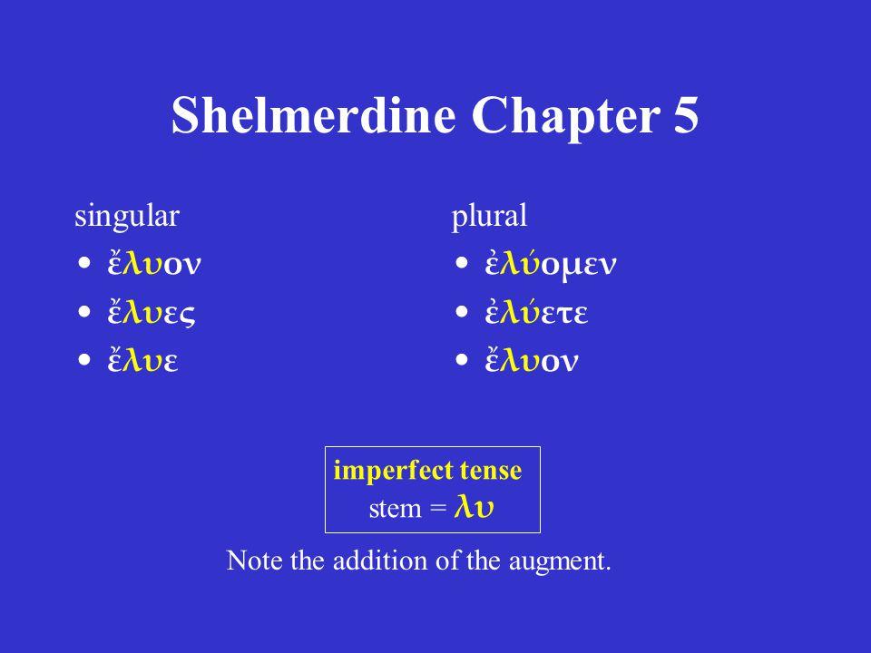 Shelmerdine Chapter 5 singular ἔλυον ἔλυες ἔλυε plural ἐλύομεν ἐλύετε ἔλυον imperfect tense stem = λυ Note the addition of the augment.