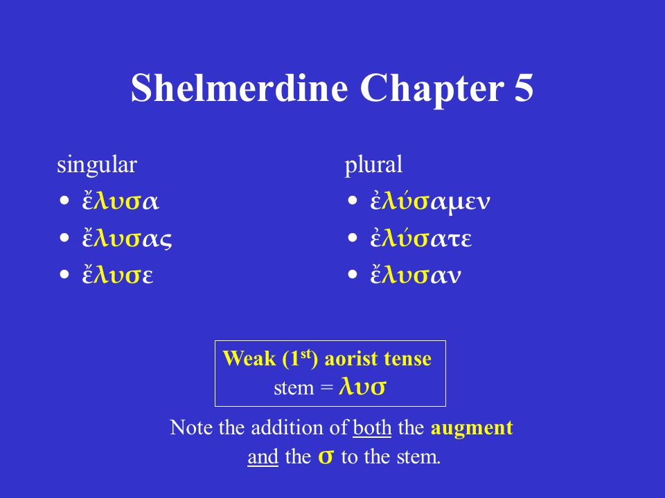 Shelmerdine Chapter 5 singular ἔλυσα ἔλυσας ἔλυσε plural ἐλύσαμεν ἐλύσατε ἔλυσαν Weak (1 st ) aorist tense stem = λυσ Note the addition of both the augment and the σ to the stem.