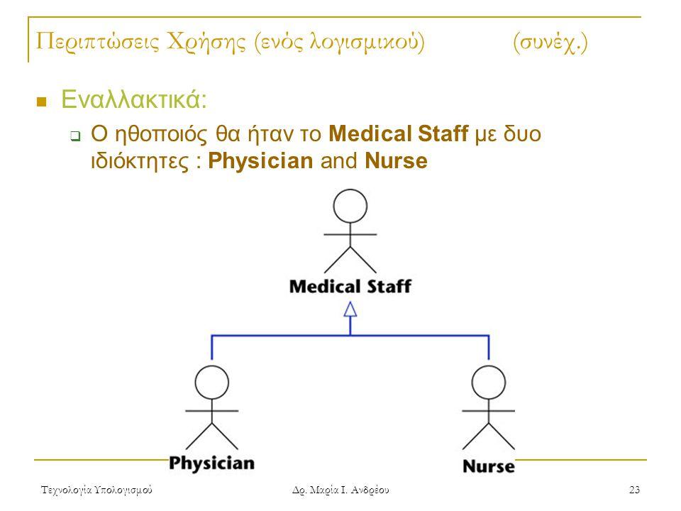 Τεχνολογία Υπολογισμού Δρ. Μαρία Ι. Ανδρέου 23 Περιπτώσεις Χρήσης (ενός λογισμικού)(συνέχ.) Εναλλακτικά:  Ο ηθοποιός θα ήταν το Medical Staff με δυο