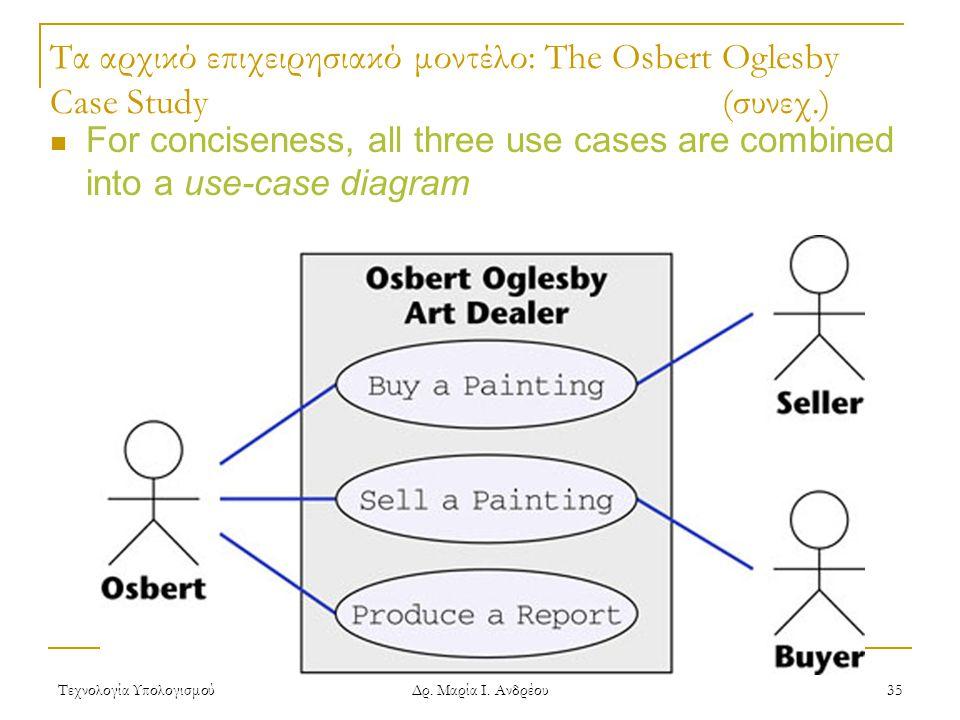 Τεχνολογία Υπολογισμού Δρ. Μαρία Ι. Ανδρέου 35 Τα αρχικό επιχειρησιακό μοντέλο: The Osbert Oglesby Case Study(συνεχ.) For conciseness, all three use c