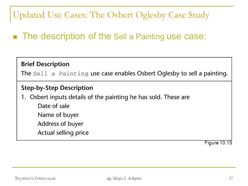 Τεχνολογία Υπολογισμού Δρ. Μαρία Ι. Ανδρέου 57 Updated Use Cases: The Osbert Oglesby Case Study The description of the Sell a Painting use case: Figur