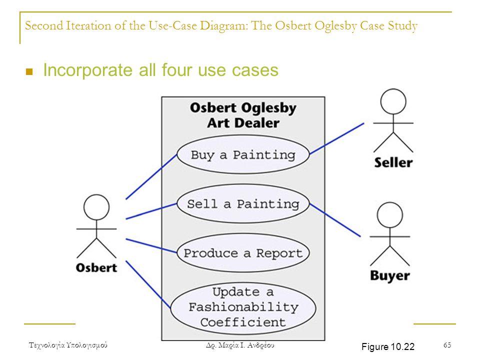 Τεχνολογία Υπολογισμού Δρ. Μαρία Ι. Ανδρέου 65 Second Iteration of the Use-Case Diagram: The Osbert Oglesby Case Study Incorporate all four use cases