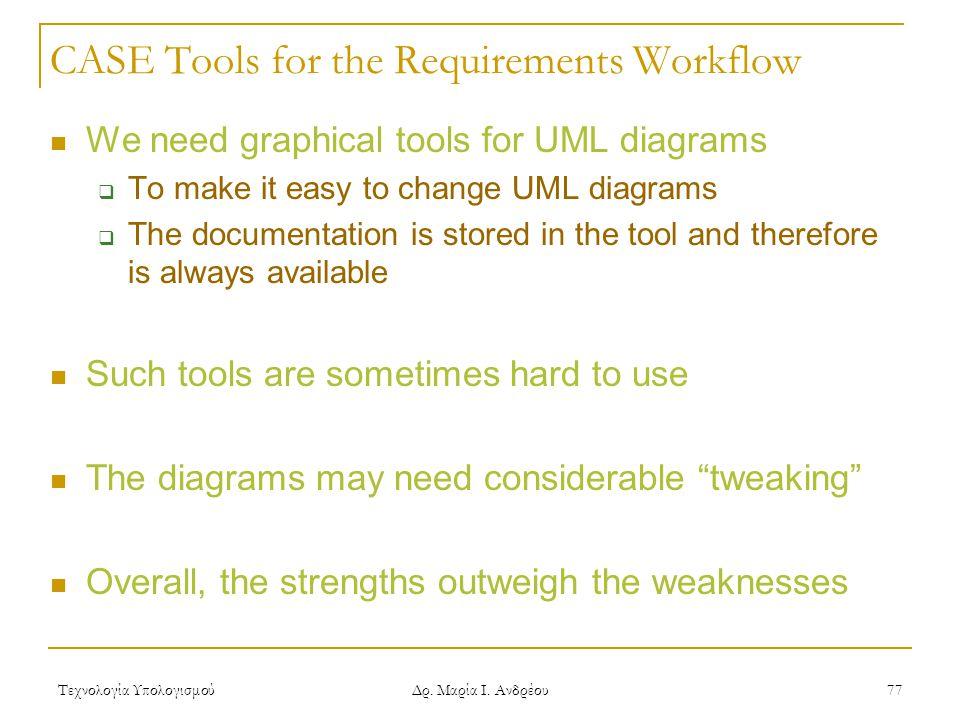 Τεχνολογία Υπολογισμού Δρ. Μαρία Ι. Ανδρέου 77 CASE Tools for the Requirements Workflow We need graphical tools for UML diagrams  To make it easy to