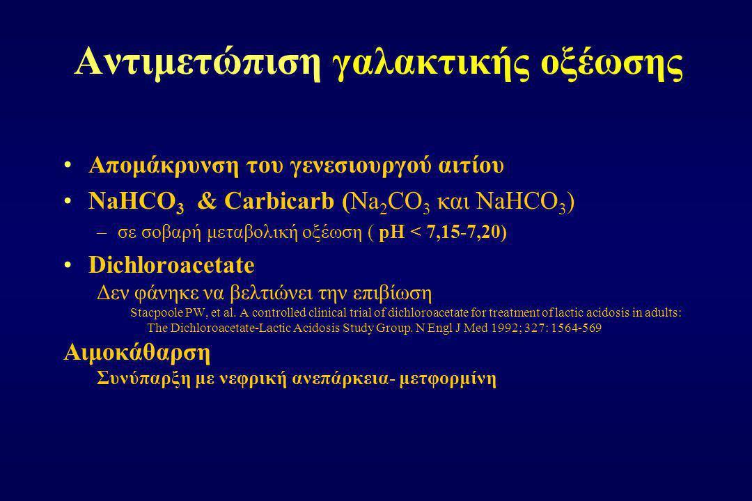 Αντιμετώπιση γαλακτικής οξέωσης Απομάκρυνση του γενεσιουργού αιτίου NaHCO 3 & Carbicarb (Na 2 CO 3 και NaHCO 3 ) –σε σοβαρή μεταβολική οξέωση ( pH < 7
