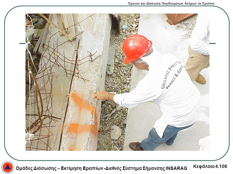Έρευνα και Διάσωση Παγιδευμένων Ατόμων σε Ερείπια Ομάδες Διάσωσης – Εκτίμηση Ερειπίων -Διεθνές Σύστημα Σήμανσης INSARAG Κεφάλαιο 4.106