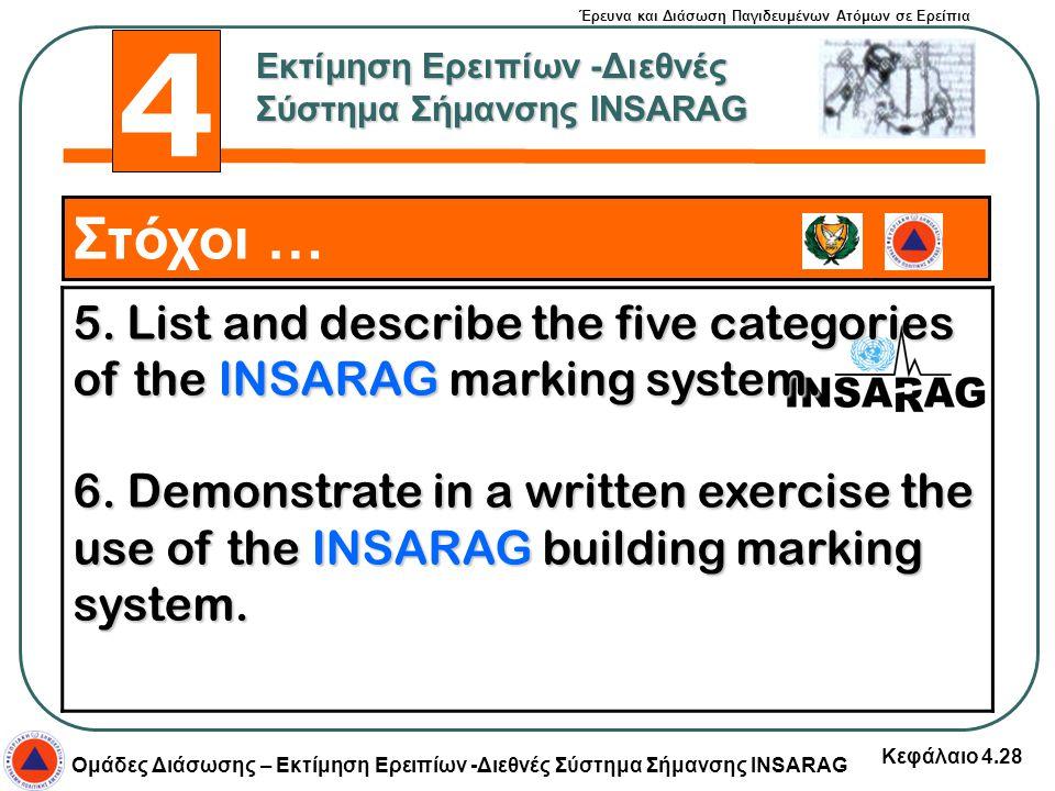 Έρευνα και Διάσωση Παγιδευμένων Ατόμων σε Ερείπια Ομάδες Διάσωσης – Εκτίμηση Ερειπίων -Διεθνές Σύστημα Σήμανσης INSARAG Κεφάλαιο 4.28 Στόχοι … 5. List