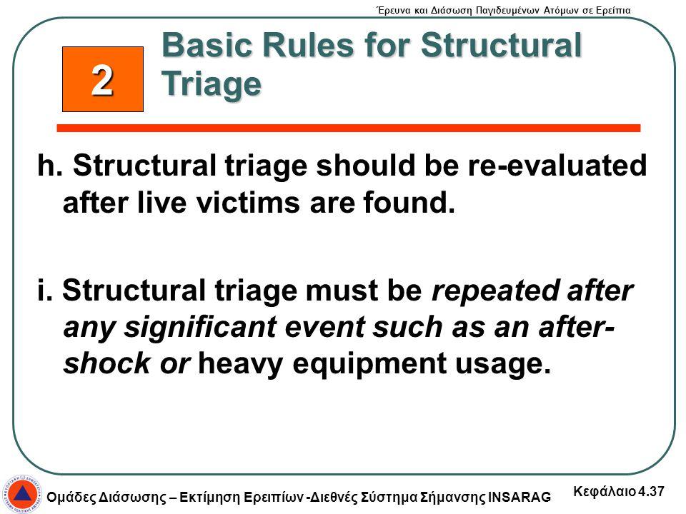 Έρευνα και Διάσωση Παγιδευμένων Ατόμων σε Ερείπια Ομάδες Διάσωσης – Εκτίμηση Ερειπίων -Διεθνές Σύστημα Σήμανσης INSARAG Κεφάλαιο 4.37 h. Structural tr