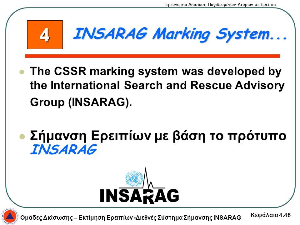 Έρευνα και Διάσωση Παγιδευμένων Ατόμων σε Ερείπια Ομάδες Διάσωσης – Εκτίμηση Ερειπίων -Διεθνές Σύστημα Σήμανσης INSARAG Κεφάλαιο 4.46 The CSSR marking