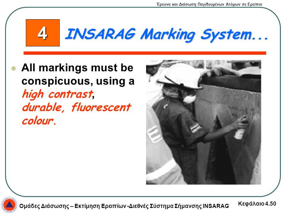 Έρευνα και Διάσωση Παγιδευμένων Ατόμων σε Ερείπια Ομάδες Διάσωσης – Εκτίμηση Ερειπίων -Διεθνές Σύστημα Σήμανσης INSARAG Κεφάλαιο 4.50 All markings mus