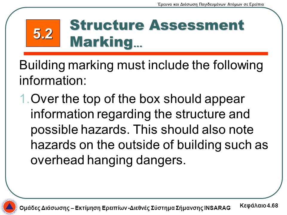 Έρευνα και Διάσωση Παγιδευμένων Ατόμων σε Ερείπια Ομάδες Διάσωσης – Εκτίμηση Ερειπίων -Διεθνές Σύστημα Σήμανσης INSARAG Κεφάλαιο 4.68 Building marking