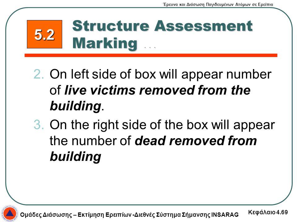 Έρευνα και Διάσωση Παγιδευμένων Ατόμων σε Ερείπια Ομάδες Διάσωσης – Εκτίμηση Ερειπίων -Διεθνές Σύστημα Σήμανσης INSARAG Κεφάλαιο 4.69 2.On left side o