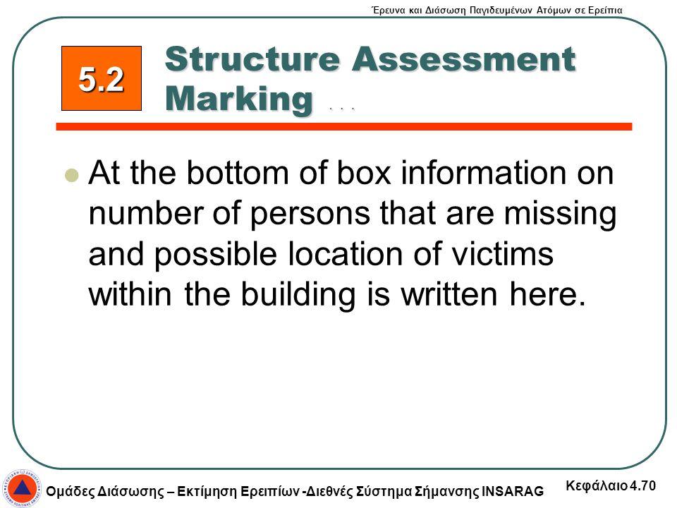 Έρευνα και Διάσωση Παγιδευμένων Ατόμων σε Ερείπια Ομάδες Διάσωσης – Εκτίμηση Ερειπίων -Διεθνές Σύστημα Σήμανσης INSARAG Κεφάλαιο 4.70 At the bottom of
