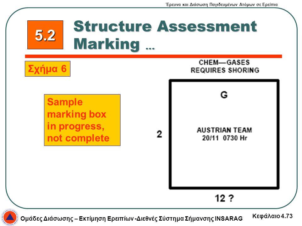 Έρευνα και Διάσωση Παγιδευμένων Ατόμων σε Ερείπια Ομάδες Διάσωσης – Εκτίμηση Ερειπίων -Διεθνές Σύστημα Σήμανσης INSARAG Κεφάλαιο 4.73 Structure Assess