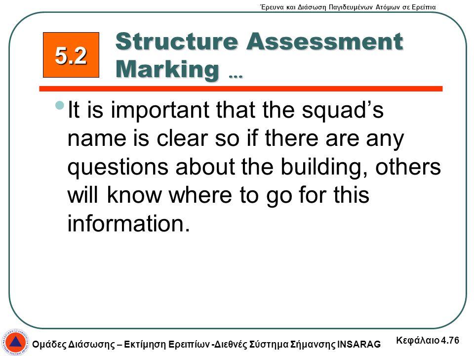 Έρευνα και Διάσωση Παγιδευμένων Ατόμων σε Ερείπια Ομάδες Διάσωσης – Εκτίμηση Ερειπίων -Διεθνές Σύστημα Σήμανσης INSARAG Κεφάλαιο 4.76 It is important