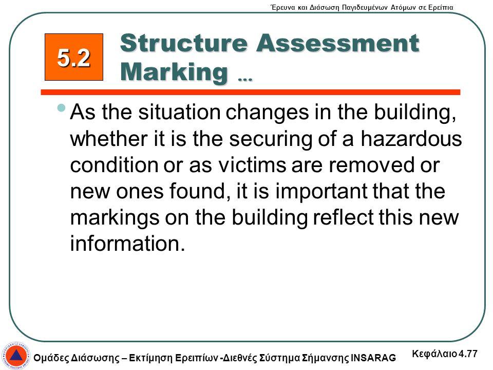 Έρευνα και Διάσωση Παγιδευμένων Ατόμων σε Ερείπια Ομάδες Διάσωσης – Εκτίμηση Ερειπίων -Διεθνές Σύστημα Σήμανσης INSARAG Κεφάλαιο 4.77 As the situation