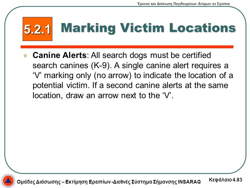 Έρευνα και Διάσωση Παγιδευμένων Ατόμων σε Ερείπια Ομάδες Διάσωσης – Εκτίμηση Ερειπίων -Διεθνές Σύστημα Σήμανσης INSARAG Κεφάλαιο 4.83 Canine Alerts: A
