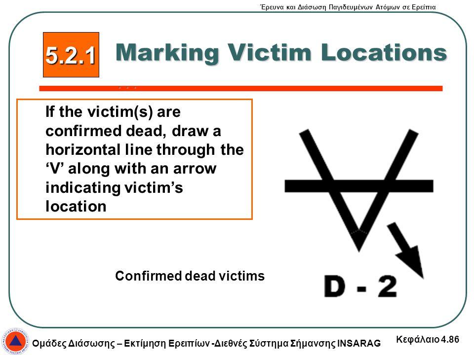 Έρευνα και Διάσωση Παγιδευμένων Ατόμων σε Ερείπια Ομάδες Διάσωσης – Εκτίμηση Ερειπίων -Διεθνές Σύστημα Σήμανσης INSARAG Κεφάλαιο 4.86 5.2.1 Marking Vi